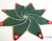 Christmas Doilies, Christmas Gift, Round Doily, Green Doily, Red Doily, Table Decoration, Centrino Natale