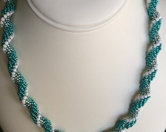 Dutch Spiral Necklace in Metallic Turquoise, Green, White