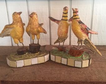 Folk Art Mixed Materials Bird Sculptures