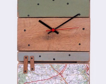 Clock wood - khaki / blue grey / roadmap
