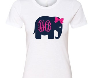 Elephant Monogram Fitted T