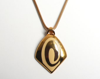Vintage 1970's Pierre Cardin Gold Plated Pendant with Cream/White Inlay - description UPDATED!