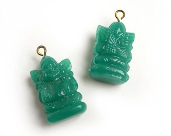 Vintage Japanese Billiken Jade Glass Charm/Pendant, occupied Japan, with brass loop- 26x16 mm - 2 pcs - B76-1