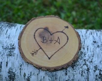 Wedding-Wood Burned Coaster