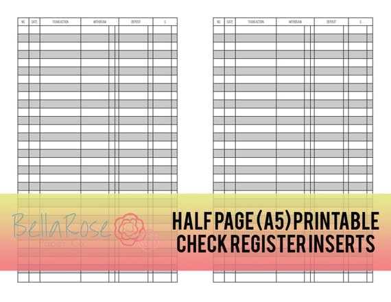 a5 half page printable check register inserts budgeting