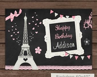 Paris Birthday Backdrop / Printable Backdrop