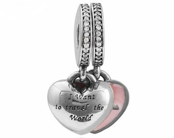 "1 Double Set ""I want to travel the world with you"" Silver Dangling Charm Beads Fits European Style Bracelets - 14Q"