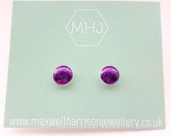 Purple glitter stud earrings / glitter resin earrings / sparkly studs / shiny stud earrings / bridesmaid gift / gift for her