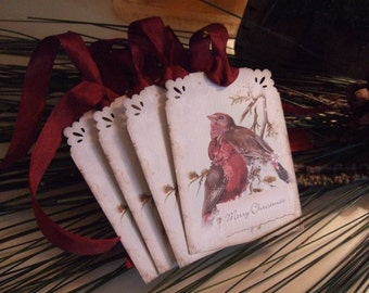 FOUR Merry Christmas Vintage Red Winter Birds Hang / Gift Tags