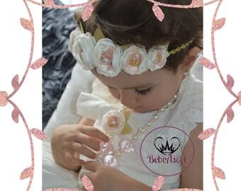 Set crown tiara and necklace for baby girl/ elastic ribbon/headgear/headband/weddings/baptism /photo shoots.