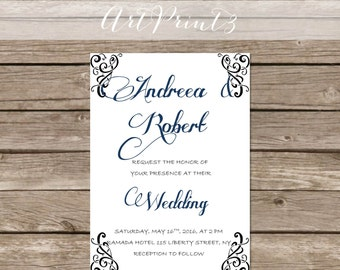 Printable Wedding Invitation Modern Digital File Instant Download Diy Wedding Invitation