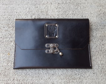 Black Leather Tablet Cover - Leather iPad Cover - Travel Carrier - Horween Chromexcel Leather - Handmade - Made To Order - Colorado