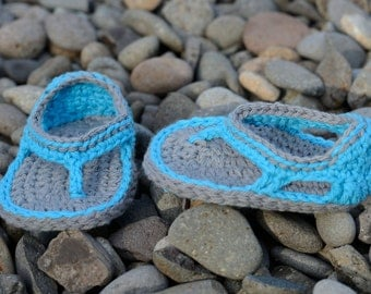 SALE!  Ready to Ship!  3-6 Month Crochet Baby Boy Sandals, Trekker Sandals, Baby Boy Flip Flops, Boy Sandals, Gift