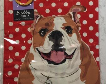 English bulldog tote bag with pin