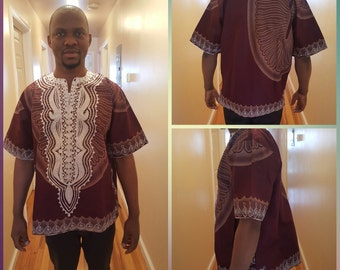 White & brown men embroidery shirt