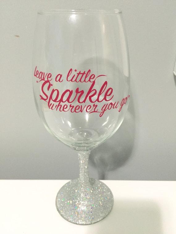 Items Similar To Sparkle Wine Glass Glitter Stem Wine