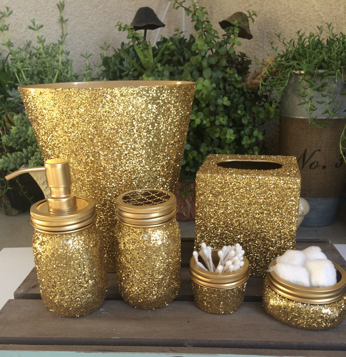 Gold glitter mason jar bathroom set soap dispenser trash for Gold bathroom decor