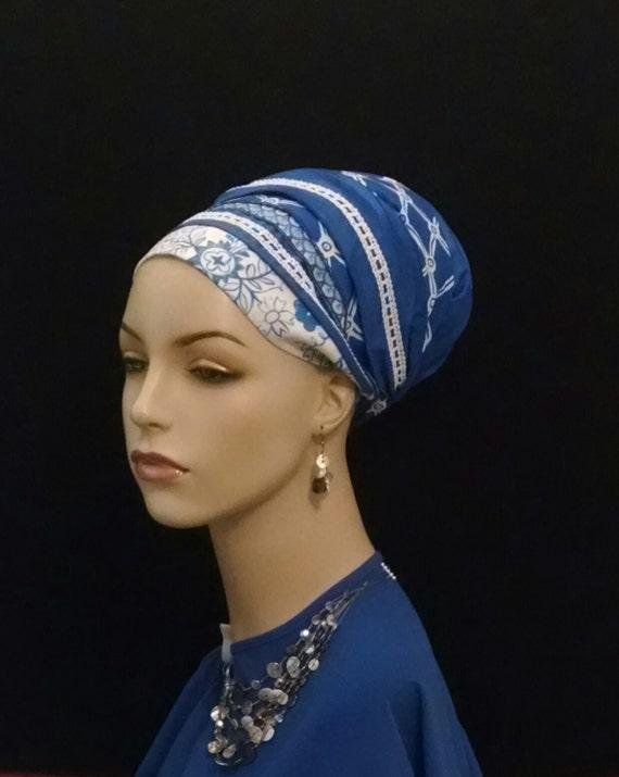 Luxurious blue 100% Cotton sateen sinar tichel