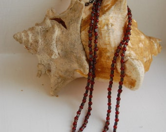Vintage Multi Strand Red Glass and Metal Bead Necklace