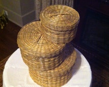 Vintage Sweet Grass Baskets - Native American Baskets with Lids -3 Naturally Dyed Hand Wooven Baskets - Gift for Anyone