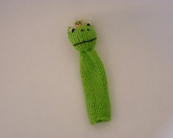 handmade frog king hand puppet with charming crown - fun for every age!