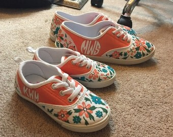 Monogrammed Flower Print Mother Daughter Shoes