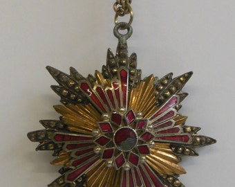 Vintage 1950s Metal and Stone Starburst Necklace