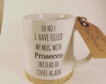 Prosecco mug -glitter mug -prosecco - prosscco glitter mug -secret santa ptosdcco- friend mug -friends mug -champagne mug- gold glitter mug