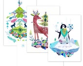 Christmas postcards - Tree, Deer and Penguin Set of 3 postcards and 3 envelopes, A6, archival inks