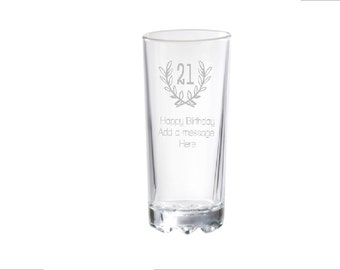 Happy Birthday, Add A Personal Message, Engraved Hiball Glass
