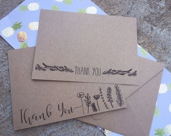 Black Floral Thank You Note Set of 10