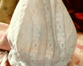Antique French Whitework Bonnet or Cap - Adult size