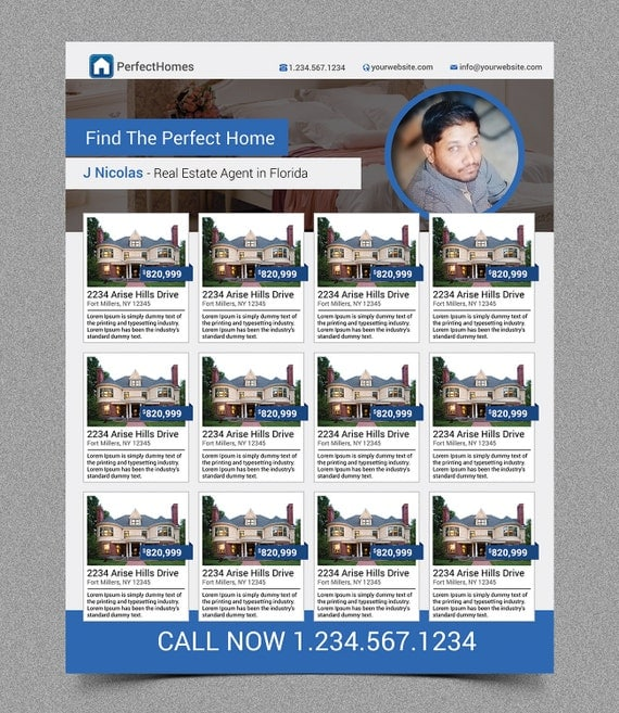 New Elegant Real Estate Flyer Multiple Listings For Agent