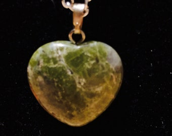 Lime Colored Heart Shaped Lampwork Pendant necklace