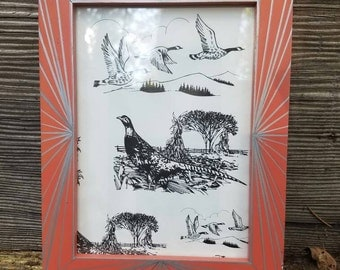 Hand Painted Upcycled Frame / Geometric Design Display / Recycled Art / Coral and Silver Frame