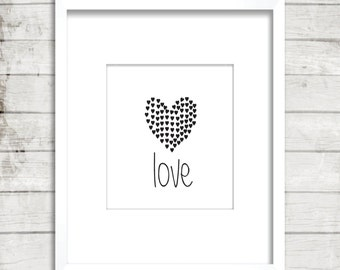 Love Heart, Little hearts, Black and white, Love, Inspirational ideas, Home decor, Printable