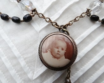 Sweet Baby Victorian Style Assemblage Necklace - NRU032