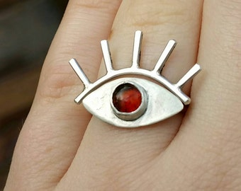 Unique Eye Stacker Set in Sterling Silver and Amber
