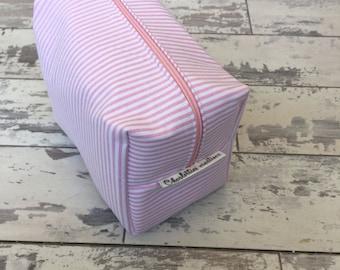 Handmade Pink Pinstripe Cosmetic Bag