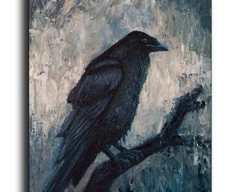 Raven Painting original Oil painting Night Painting Crow original oil wildlife nature Black Bird Portrait Gothic Art Bird painting No print