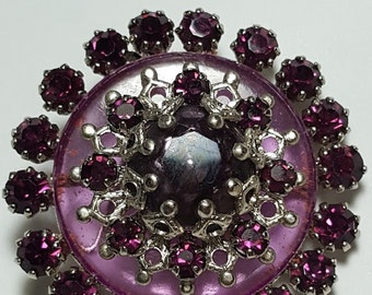 Brooch with Amethyst Colored Glass Cabochon and Crystal Glass Stones/1960's/Vintage jewelry