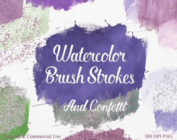 WATERCOLOR PAINT STROKE Clipart Commercial Use Clipart 28 Teal Watercolor Brush Splotch Silver Confetti Watercolor Textures Logo Clip Art