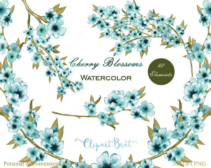 WATERCOLOR FLORAL Clipart Commercial Use Clipart Wedding Clipart Hand-Painted Spring Cherry Blossom Branches Teal Floral Wreath Graphics