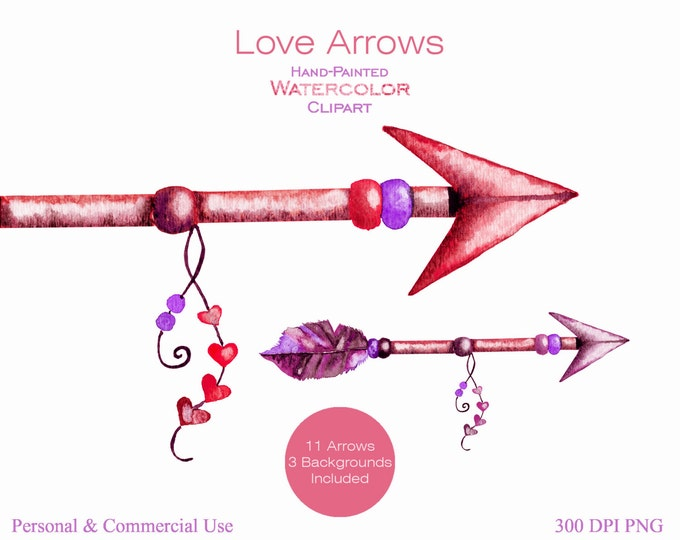 WATERCOLOR ARROWS Clipart Commercial Use Clipart 11 Arrow Graphics & 3 Watercolor Backgrounds Coral Pink Hearts Arrow Tribal Clip art Arrows