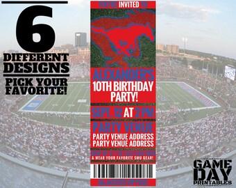 SMU Mustangs Birthday Invitation - Printable Southern Methodist University Invite