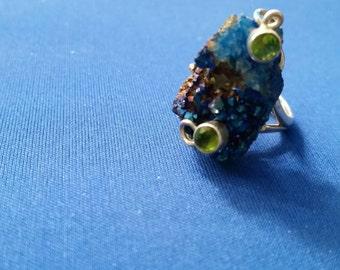 Fancy titanium Druzy & peridot Silver Ring