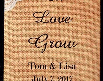 Let Love Grow, Seed Packets, Sunflower Seeds, Burlap and Lace, Seed Packet Favors, Wildflower Seeds, Wedding Seed Packets, 50 count