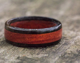 Redheart and Ebony Wood Ring -  Mens Womens Custom Hand Carved Wedding Engagement Band Multiple Size Red Black Inlay