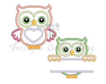 Set of 2 Owl Applique Machine Embroidery Designs 0027