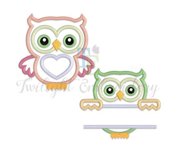 Set of owl applique machine embroidery designs